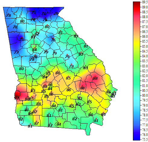 Georgia weather automated environmental monitoring for Soil temperature map