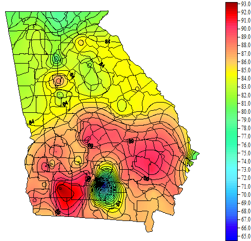 Georgia Weather Automated Environmental Monitoring Network Page - Us soil temperature map